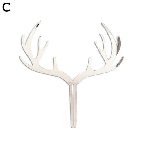 Decoration Merry Christmas Deer Elk Antlers Xmas Acrylic Party Cake Topper