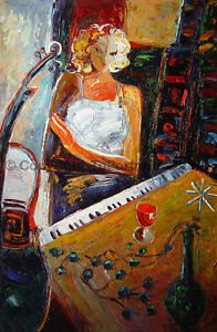 Cello-Player-With-Piano-Original-Handmade-Oil-Painting-on-Canvas-24-034-x-36-034