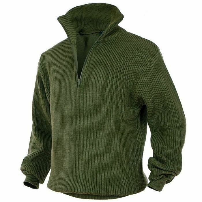Mil-Tec Knitted MILITARY JUMPER TROYER Zip Security Police Olive
