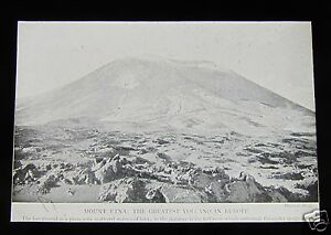 Glass-Magic-lantern-slide-MOUNT-ETNA-C1890-SICILY-ITALY-VOLCANO