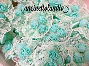 Segnaposto Matrimonio Verde Tiffany.Lotto 15 Bouquet 45 Fiori Artificiali Verde Tiffany Bomboniera