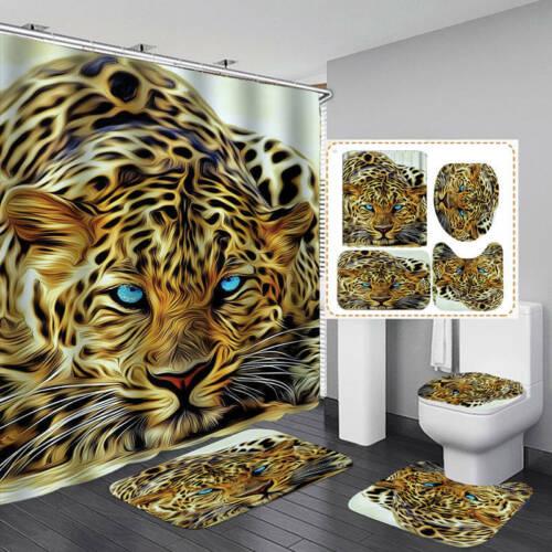 Leopard Shower Curtain Bath Mat Toilet Cover Rug Bathroom Decor