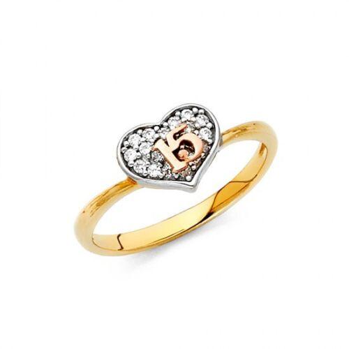 Bague Sweet 15//quinceañera Ring 14k réel or massif