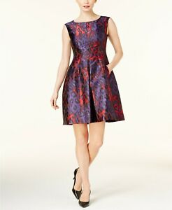 Anne Klein Women S Jacquard Fit Flare Dress Phoenix Titian