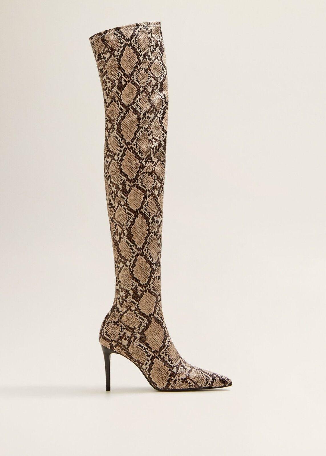 Effetto di  serpente di mango Alto -Leg Pointed Toe stivali Ref. 33015763 dimensione EU37 US6.5 UK4  compra meglio