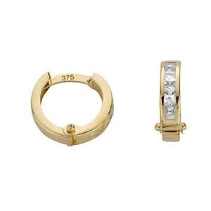 Classic-9ct-Yellow-Gold-Princess-Cut-CZ-Round-Huggie-Hoops-14mm-Earrings-Gift