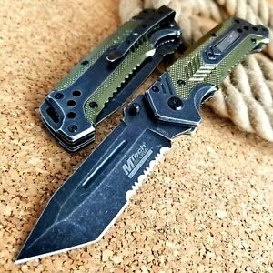 MTech Folding Pocket Knife Spring Assisted Open Tactical Green Tanto Drop Blade