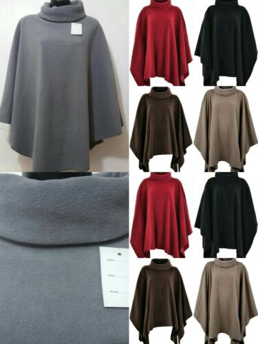 NUOVO Da Donna Inverno Caldo in Pile Cappuccio Roll Up Collo Poncho Cape Anti pillola accogliente Fleec