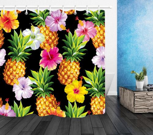 "Pineapple Flower Shower Curtain Hook Set Bathroom Decor Waterproof Fabric 72//79/"""