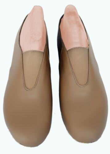 JAZZ DANCE SHOES TAN LEATHER MIDDLE ELASTIC UNISEX