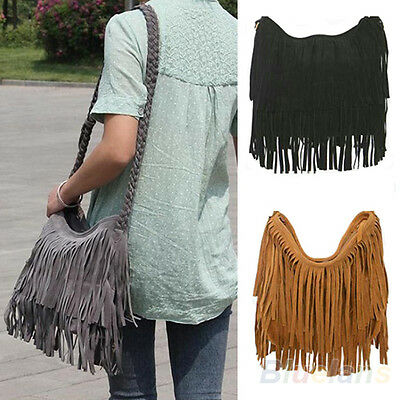 Women's Fashion Fringe Tassel Handbag Messenger Cross Body Satchel Shoulder Bag