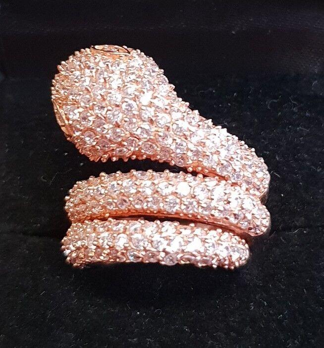 Imposante bague en silver massif 925  plaqué or rosé serpent size 49 M122