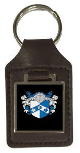 Allen Familien Wappen Nachname Wappen Braun Leder Schlüsselanhänger Graviert