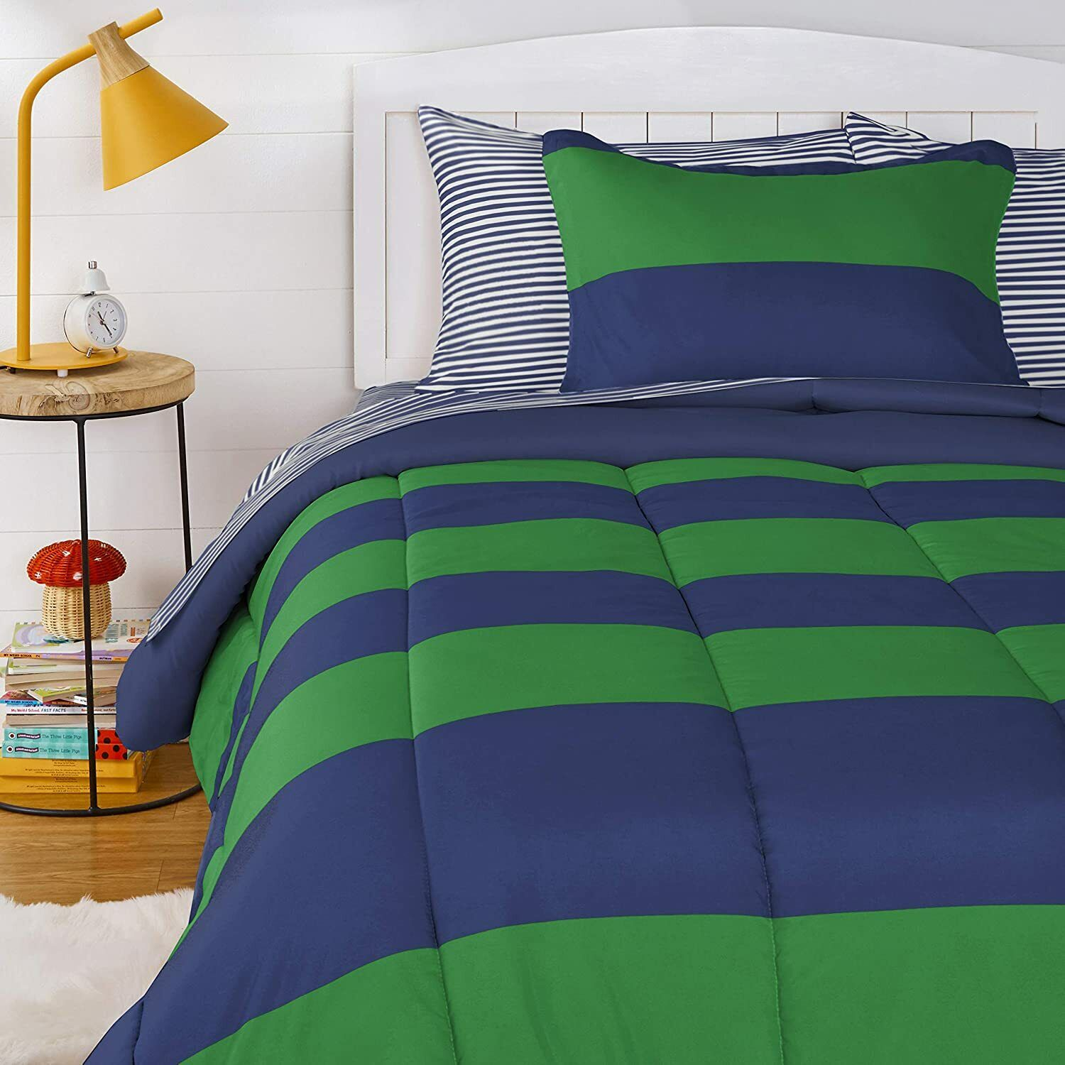 7 Pc Modern Striped Comforter Set Teal Green Navy Blue Yellow Silver Gray Queen For Sale Online Ebay