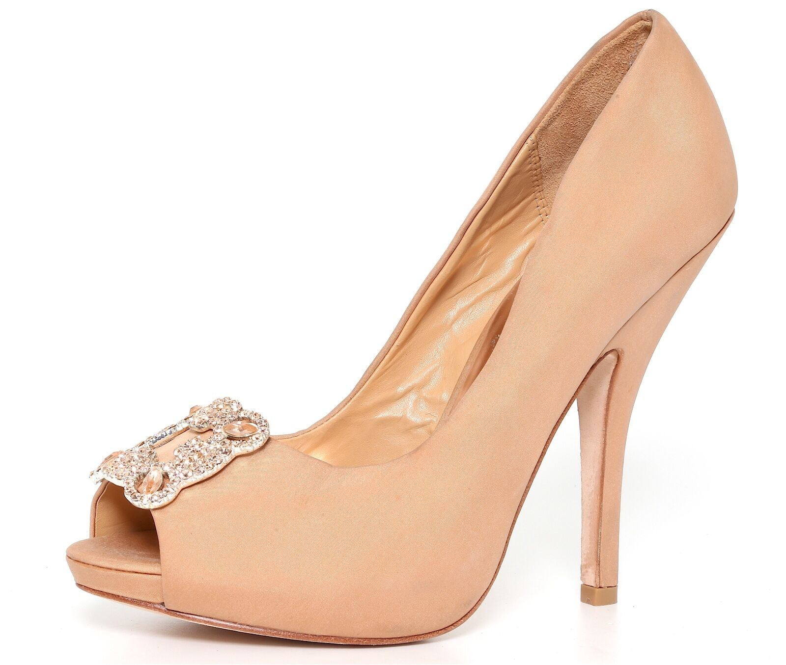 Badgley Mischka Women's Satin Crystal Peep Toe Heels Natural 9500 Sz 7.5 M