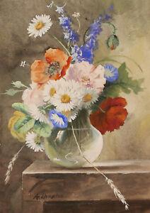 Adroit Arthur Chaplin Aquarelle Dessin Tableau Nature Morte Bouquet Fleurs Printemps