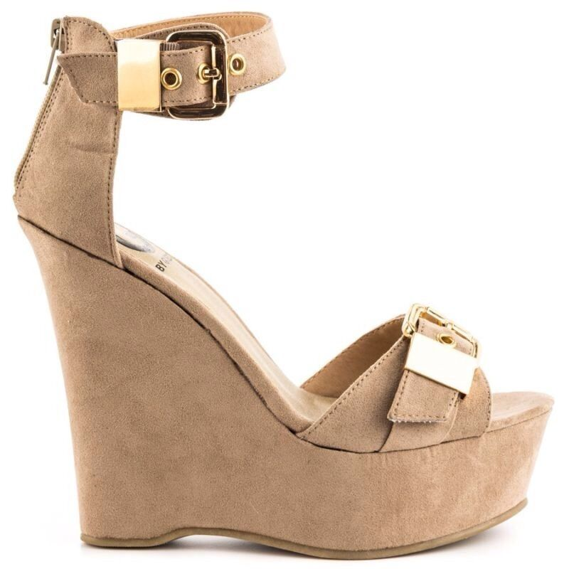 G by GUESS Honey 2 Lightt Natural Nude Beige Suede Fabric Wedge SANDAL 9.5 M NEU