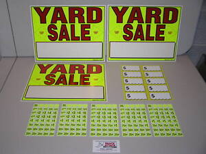 Image Is Loading YARD SALE SIGNS Amp PRE PRICED LABEL KIT