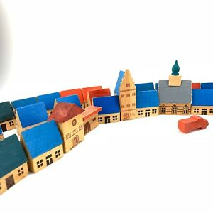 Vintage-Toy-East-German-GDR-Wooden-Building-Blocks-Houses-Town-Buildings