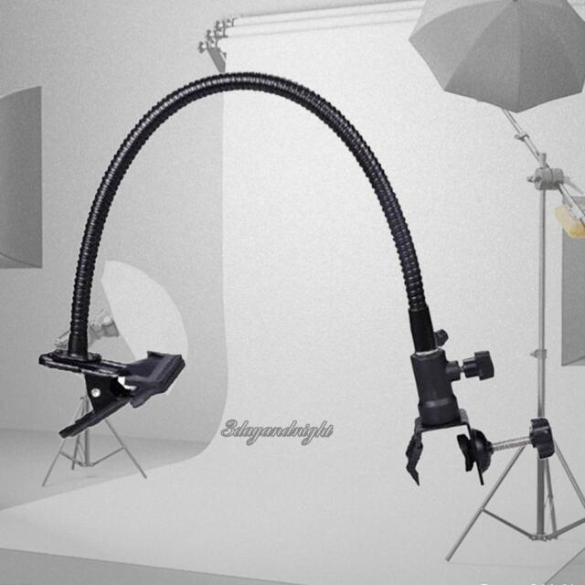 Photo Studio Light Stand Goose Neck Holder C Clamp Clip Flexible  Arm Reflector