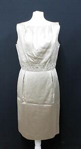 Austin Reed Ladies Stone Beige Silk Cotton Embroidered Sleeveless Dress Uk12 Ebay