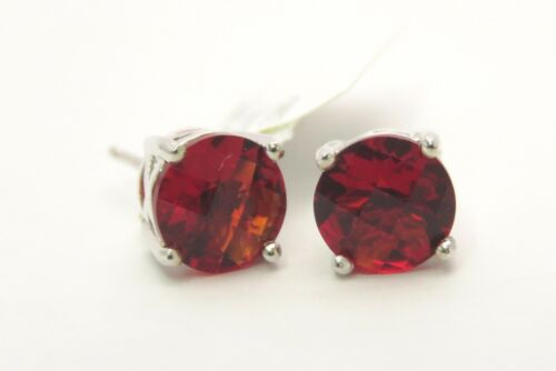#80808P 1.80ct Ruby Red  Helenite Emerald Stud Earrings Solid 925 Silver