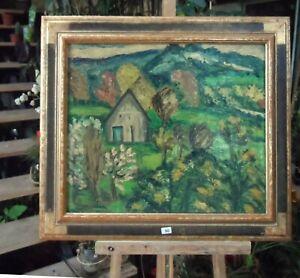 HYLDA-TODE-tableau-huile-sur-toile-034-Le-pin-au-Haras-034-dans-l-Orne-1957