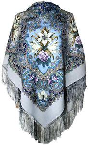 Authentique-Grand-Russe-Pavlovo-Posad-echarpe-chale-etole-Wrap-100-laine-125x125cm