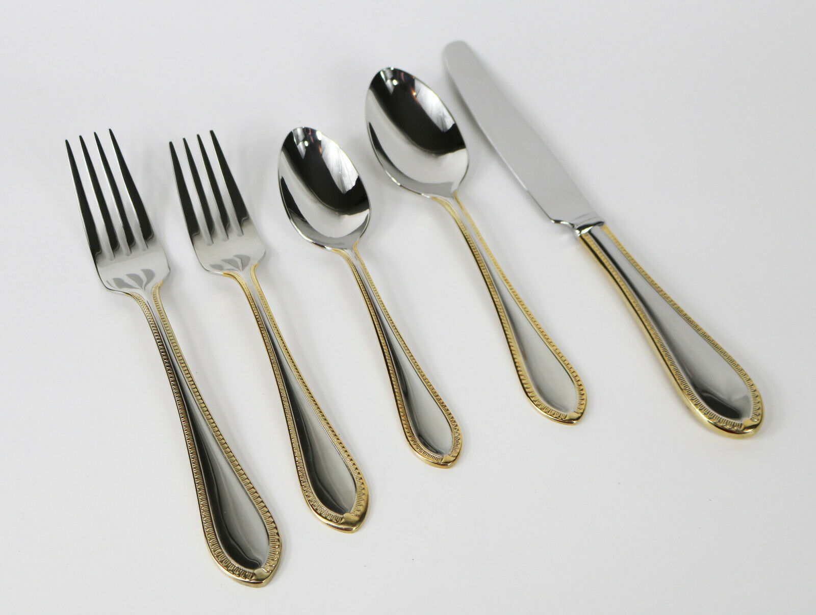 45pcs Waterford Northbridge Stainless Steel Gold Accent Flatware Set 8 8 8 + Serving 171fd6