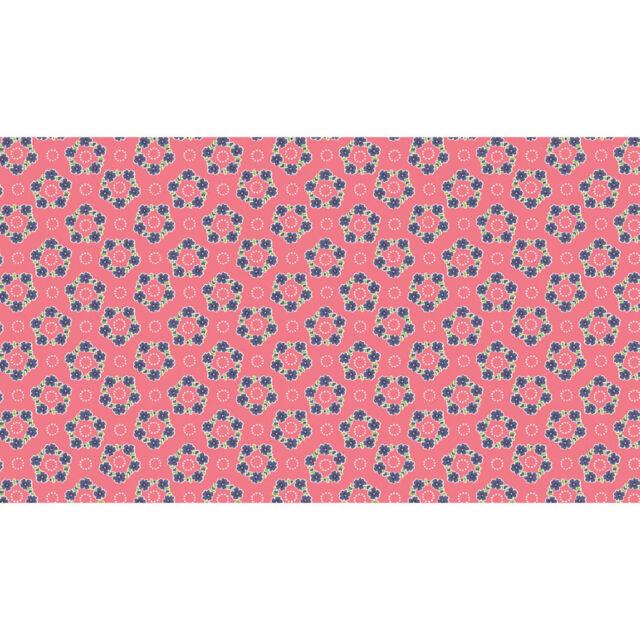 Makower Patchwork Fabric Katie Jane Garland Pink - Per 1/4 Metre