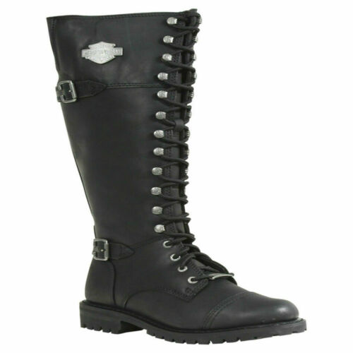 HARLEY DAVIDSON BEECHWOOD D83856 LADIES ZIP LACE LEATHER MOTORCYCLE LONG BOOTS Black