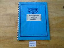 Mattison Manual Of Operation Repair Parts No 42 48 60e Surface Grinder B83