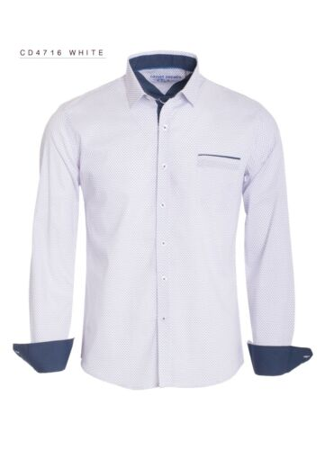 New Mens Caviar Dremes Long Sleeve Button Down Dress Shirt White Diamond Pattern