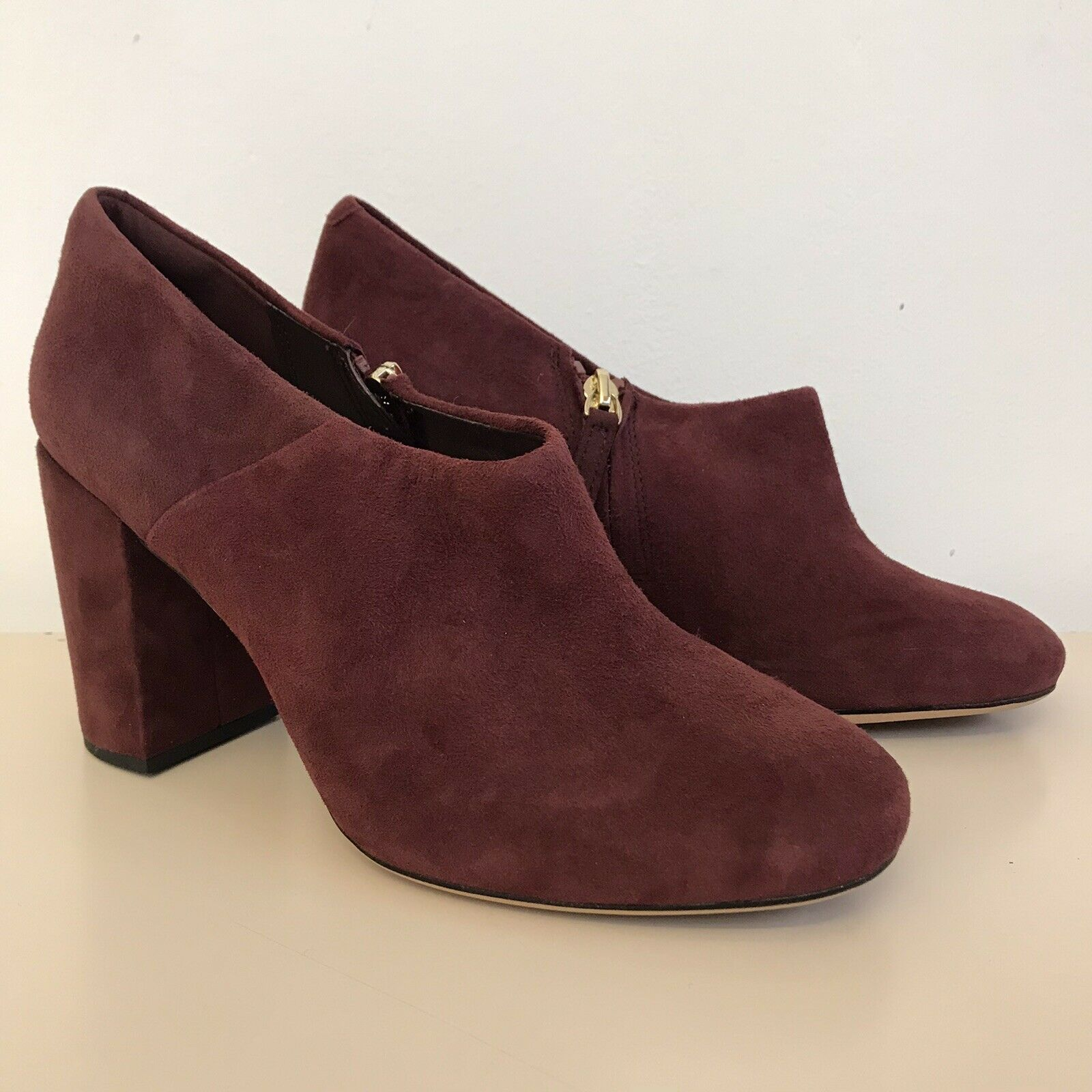 NEW! CLARKS 'Amabel Clara' Burgundy Suede Leather Block Heel Shoes Boots 5.5 D