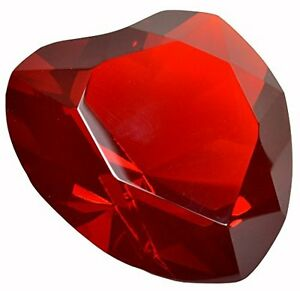 """Red Solid Crystal Glass Heart Jewel Paperweight 3.15"""" 80mm Not Painted"""