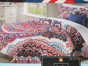Cynthia Rowley Floral Navy Blue Amp Red Twin Xl Duvet Cover