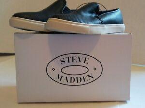 NEW-Steve-Madden-Women-039-s-Black-Perforated-Slip-On-Sneaker-Shoe-Sizes-8-1-2