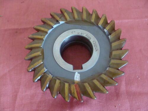RESHARPENED UNKNOWN MGF.SINGLE ANGLE MILLING CUTTER RH 45 DEGREE 4 X 1 X 1 ¼