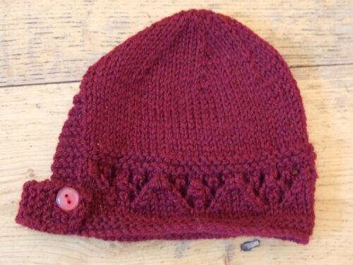 Booties Set 0-3// 3-6// 6-9 Months New Hand Knitted Burgundy Baby Bonnet Mitten