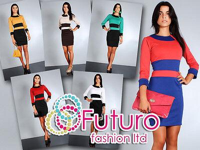 Importato Dall'Estero Classic & Trendy Two-colors Dress 3-quarter Manicotto Barca Collo Taglie 8-14 Fa32-mostra Il Titolo Originale