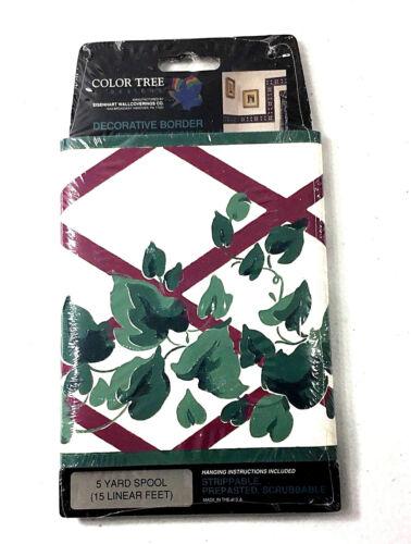 Color Tree Designs Green Vine Trellis Wallpaper Border 5 Yards