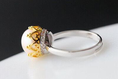 Steady B06 Ring Krone Vergoldet Süßwasser Perle Sterling Silber 925 Größenverstellbar Low Price Pearl Jewelry & Watches