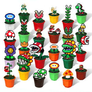 Super Mario Bros Action Figures In Flowerpot Plastic Pixel Art