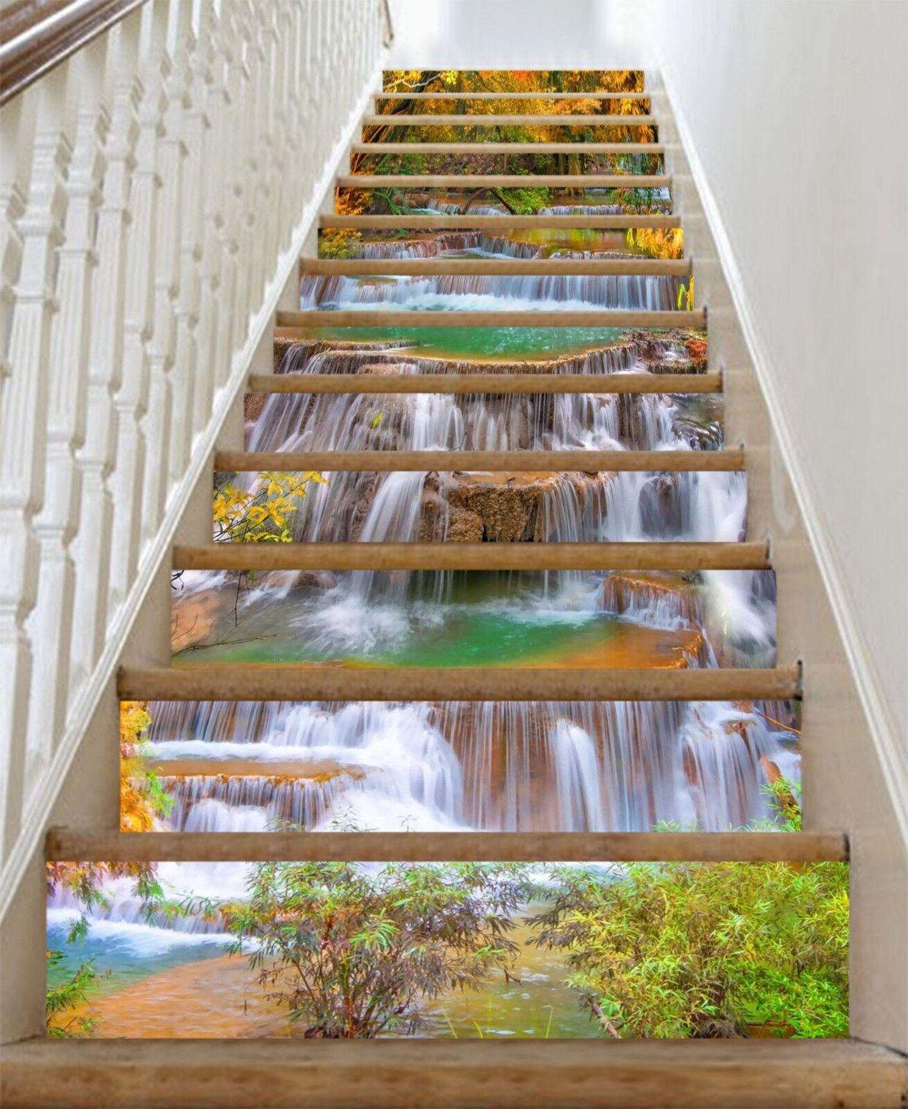 3D Stream 3 Stair Risers Decoration Photo Mural Vinyl Decal Wallpaper CA
