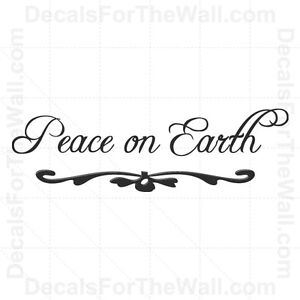 Peace-on-Earth-Christmas-Wall-Decal-Vinyl-Art-Sticker-Quote-Decor-Decoration-C18