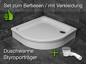 Sehr Viertelkreis Duschwanne Duschtasse + Ablauf + Träger, 80x80 90x90 WK56