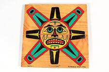 Original Native American Hand Painted Wood Folk Art Huron Indian Wendat Signed