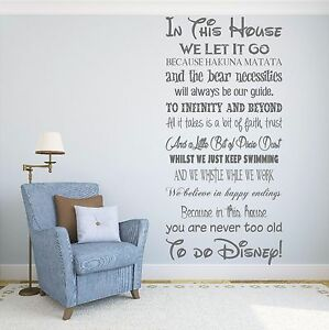 Image is loading We-Do-Disney-House-Rules-Vinyl-Wall-Art-  sc 1 st  eBay & We Do Disney House Rules Vinyl Wall Art Sticker Quote Kids Family ...