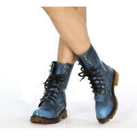 Fashion Women's PU Leather Lace Up Military Combat Boots Ankle Boots Shoes UK Sz