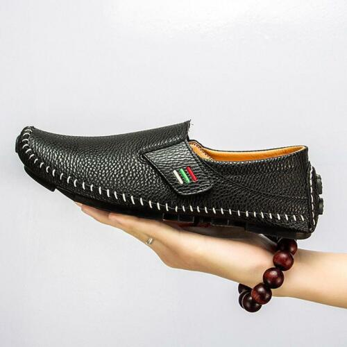 Mens Driving Shoes Flats Loafers Casual Cowhide Moccasins Slip On Shoes Big Size